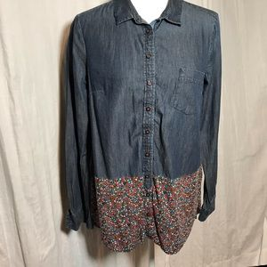Anthropologie Postage Stamp Denim Top with Floral